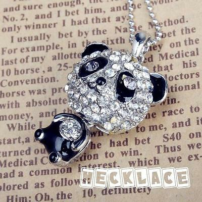 Fashion Rhinestone Crystal Chain Girl Cute Panda Sweater Animal Pendant Necklace
