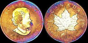 2015-CANADA-ELIZABETH-II-FIVE-DOLLARS-FINE-SILVER-Maple-Leaf-Multicolor-Toned