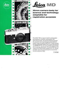 100% Authentique 1965 Leitz Leica 1 Page Brochure Pour Md Caméra-afficher Le Titre D'origine Belle Qualité