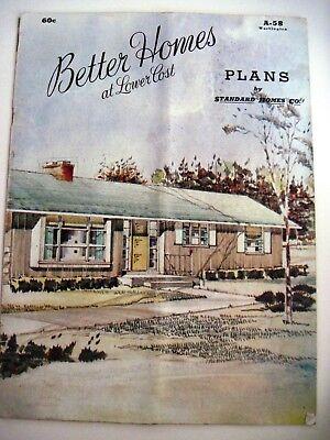 """Baupläne 1958 Kalifornien Haus Pläne Heft """" Standard Homes Co Zoll Ext.pics & Boden"""