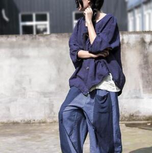 cotone della della Pantaloni pantaloni larghi larghi larghi elastica vita del vita delle dei donne dei pantaloni w84gzAwq