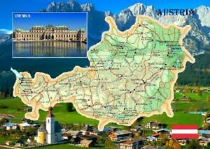Austria Country Map New Postcard