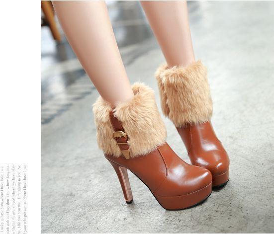 botas tacón de aguja zapatos de tacón mujer 12 marrón cabello como piel 8253
