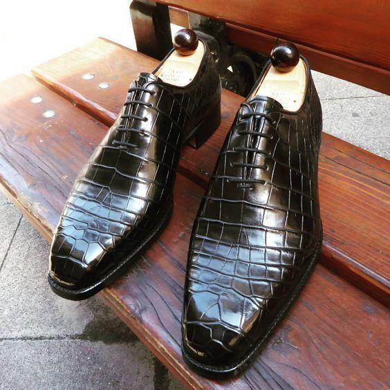 Zapatos de cuero para hombres hechos a mano, Textura Cocodrilo Formal Cuero Hombres Zapatos Negros