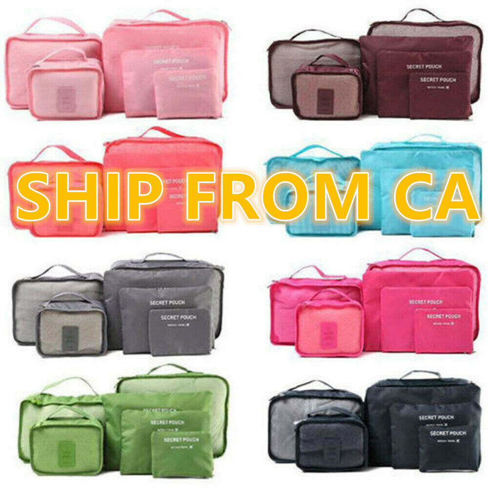 6pcs Portable Clothes Storage Bag Packing Cube Travel Luggage Organizer Pouch