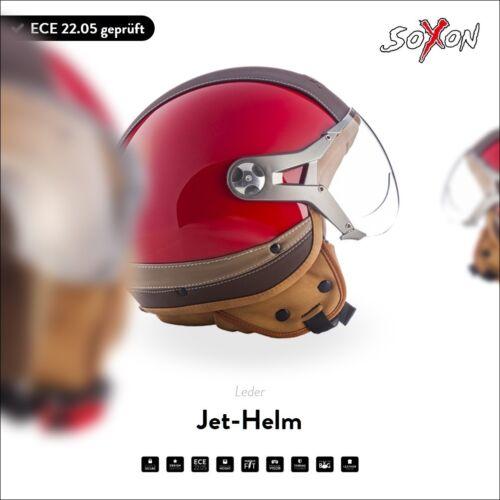 SOXON SP-325 Urban Red casque Jet Urbain Vespa moto helmet scooter XS S M L XL