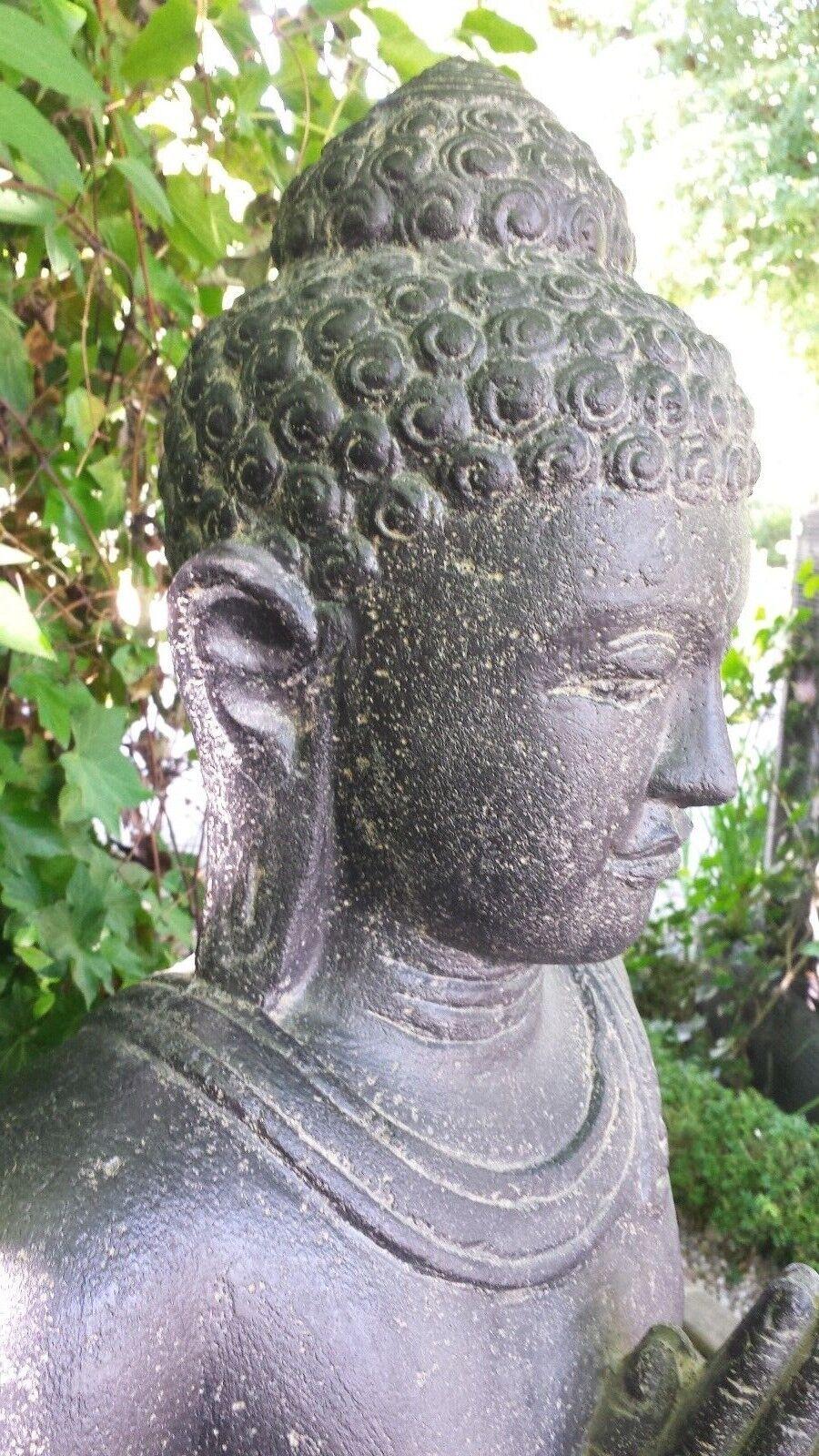 Buddha grüßend Indonesien Lavastein Skulptur Statue Feng Shui Garten Garten Garten Deko c1f75e