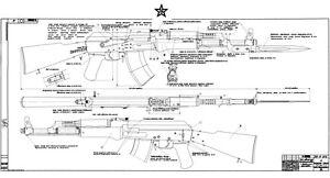 Details about Blueprints of the Soviet Kalashnikov AK-47 Type 3 2 Large on