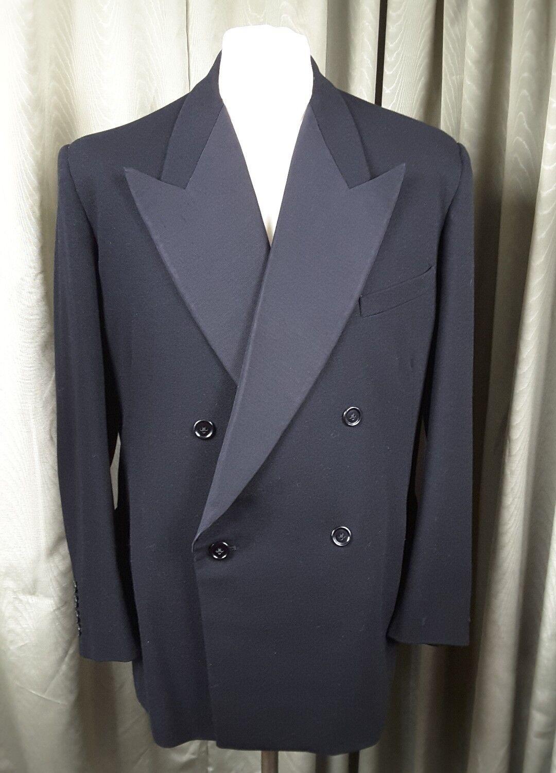 Vintage 50s Bespoke Wool Dinner Evening Black Jacket 38-40
