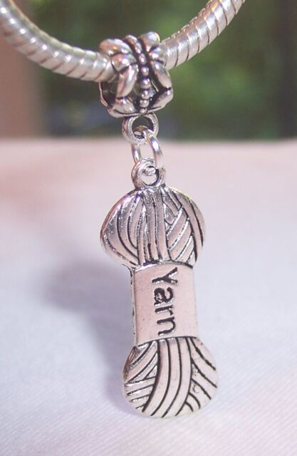 Yarn Skein Ball Crochet Knitting Dangle Bead for Silver European Charm Bracelets