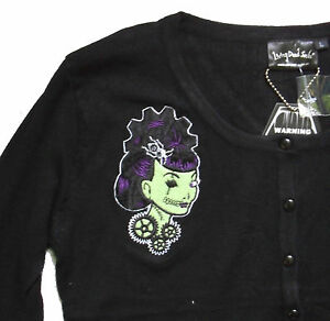 BLACK-amp-GREEN-STEAMPUNK-COGS-GIRL-EMBROIDERED-CARDIGAN-PSYCHOBILLY-S-M-KNITTED