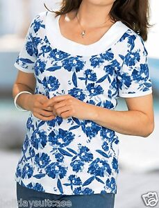 Ladies-womans-summer-holiday-TWIN-PACK-top-tops-blue-pink-Size-14-16-UK-42-44-EU