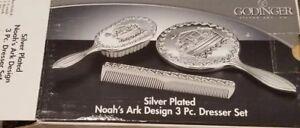 Vintage Godinger Silver Co. Silver Plated ~ Noah's Ark Design ~ 3 Pc Dresser Set