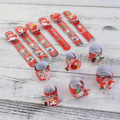 LED Light Glow Christmas Toy Xmas Snowman Slap Circle Bracelet Wrist Band