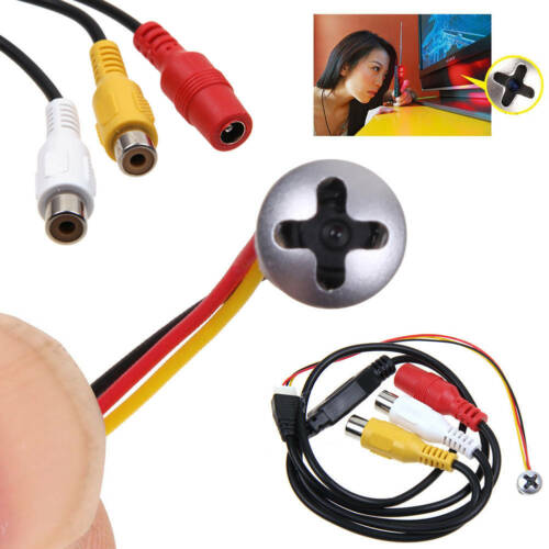 Mini Micro Spy Camera Cam Screw Pinhole Hidden Button Home CCTV Security 800TVL
