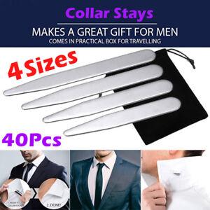 40PCS Mens Stainless Steel Metal Collar Stiffeners Set Cuffs Shirt Inserts  Stays 720355272654 | eBay
