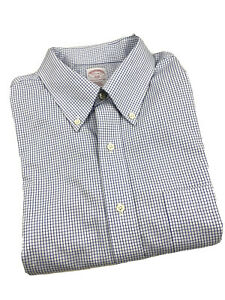 Brooks-Brothers-Blue-Plaid-Shirt-Mens-Size-17-5-6-7-Long-Sleeve-Non-Iron