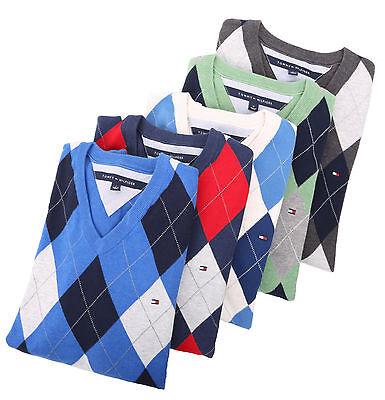 $0 Free Ship Tommy Hilfiger Men Classic Fit V-Neck Argyle Long Sleeve Sweater