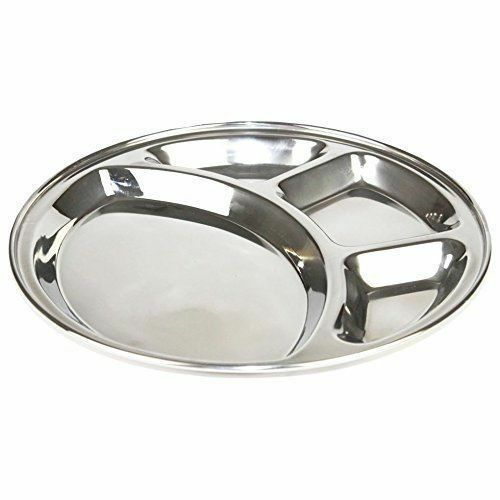 Stainless Steel Compartment Round Plates Indian Bhojan Thali, 4 Section 4 Plates