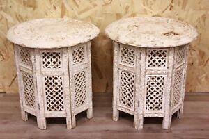 Tavolini In Legno Bianco : Bella coppia di comodini tavolini tondi smontabili in legno