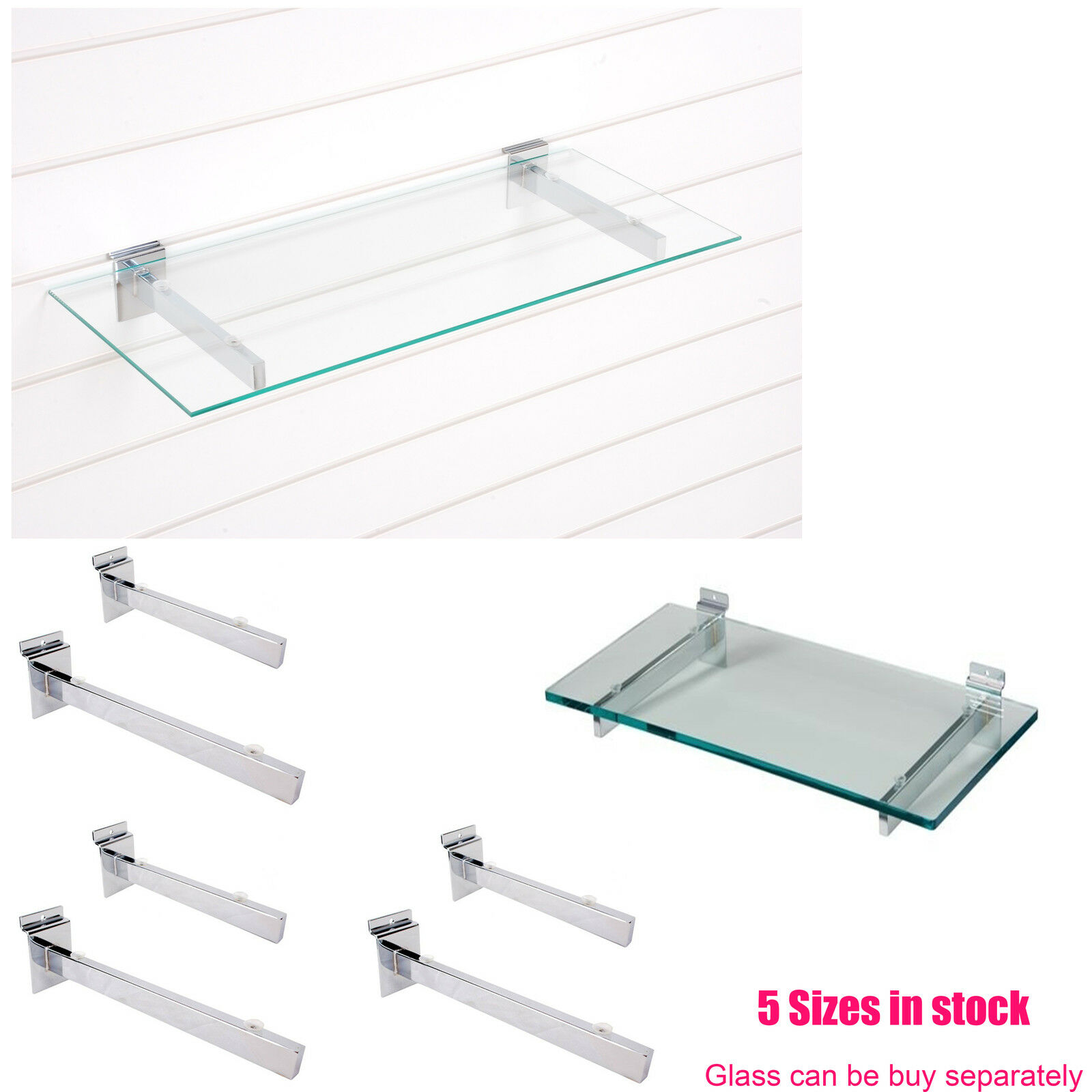 Details About Glass Shelf Brackets Pair Slatwall Slatboard With Suction Pads For Hold Glass