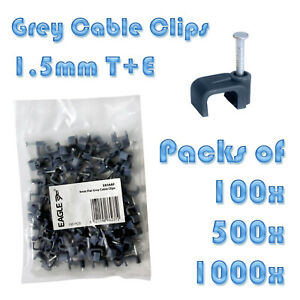 1X Pack Of 1000 4MM Grey Flat Twin And Earth Clips Cable Clip