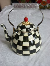 Mackenzie Childs COURTLY CHECK Large 3 Qt ENAMEL TEA KETTLE NEW $135