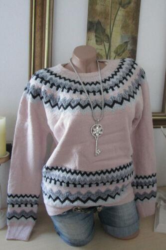 Rosa 36 Filo A Lurex Lavorato Motivo Vintage Onde Nuovo Pullover Maglia Oversize ROgZU