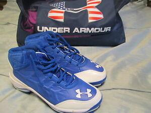 New Under Armour Heater Mid Tpu Jr Blu Wht 4 5 Baseball