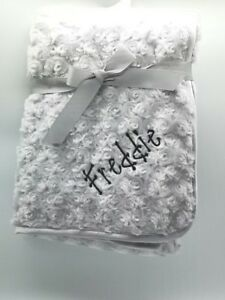 Elephant Personalised Luxury Embroidered Baby Blanket Birth Details Soft Fluffy