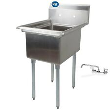 Item 2 Stainless Steel One Compartment Prep Mop Sink 21 X 21 With Faucet   Stainless Steel One Compartment Prep Mop Sink 21 X 21 With Faucet