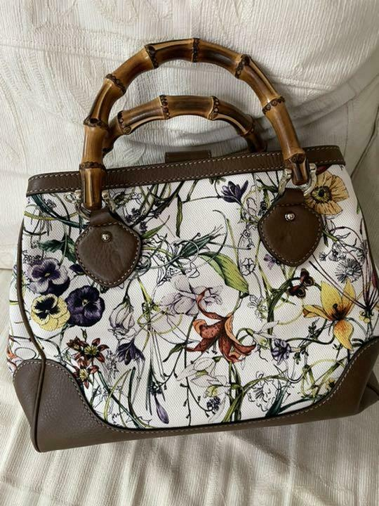 Gucci Diana Canvas Flower Bamboo 2Way Hand Should… - image 2