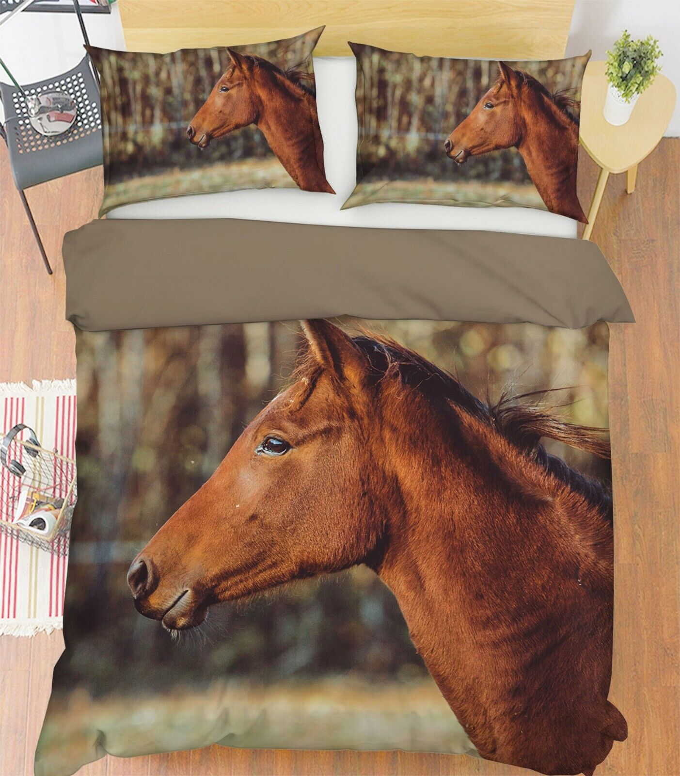 3D Horse I46 Animal Bed Pillowcases Quilt Duvet Cover Queen King Angelia