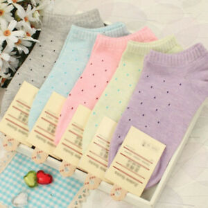 5-Colors-Fashion-Women-Low-Cut-Dots-Cotton-Ankle-High-Candy-Color-Casual-Socks