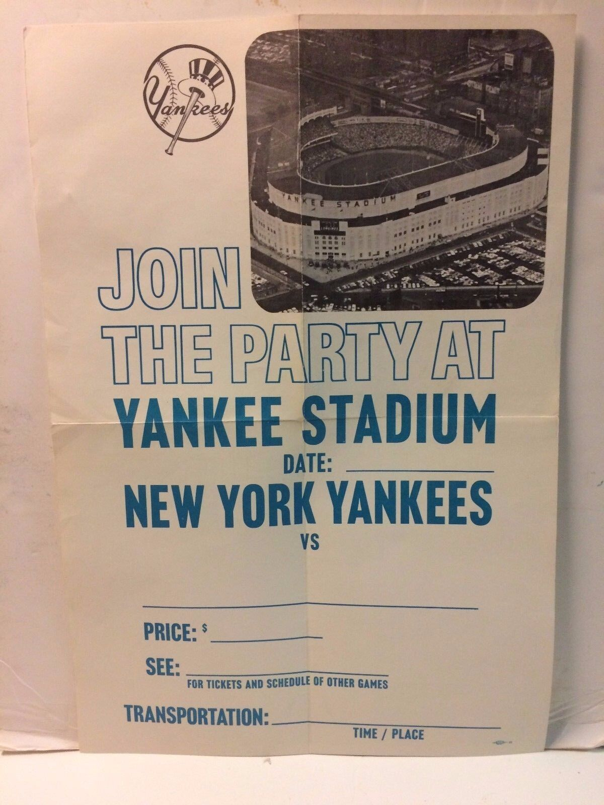 Vintage Yankee Stadion Plakat     Join The Party At Yankee Stadium    | Sale Online Shop