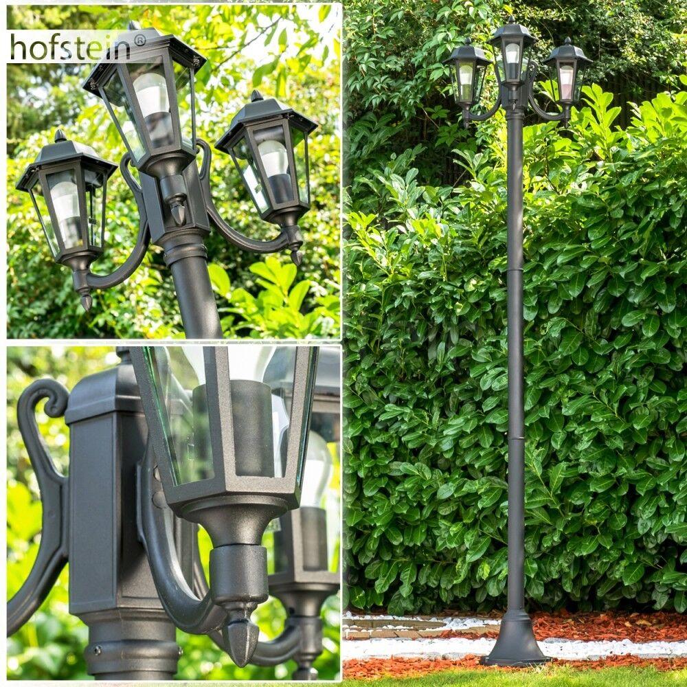 Lámparas caminos judio negro mate exterior pie luces de jardín cristal claro farol
