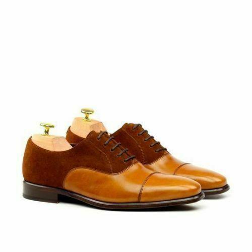 Zapatos De Cuero hecho a mano para hombre dos tonos de marrón gamuza y Vestido Formal Boda Tostado
