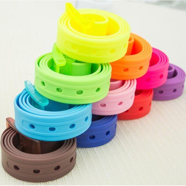Men's Women's Silicone Belt Rubber Plastic Buckle Plain Leather Style Adjustable