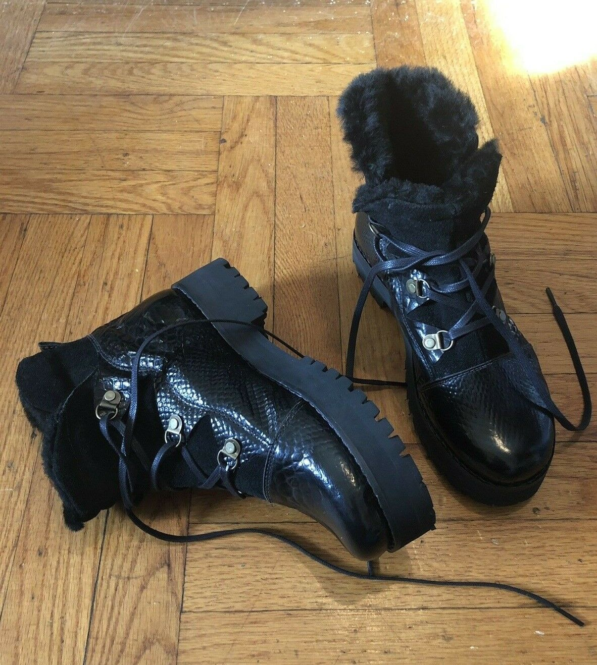 New New New  Free People Fur Lined Combat Hiker Moto Boots 8   39 588e46