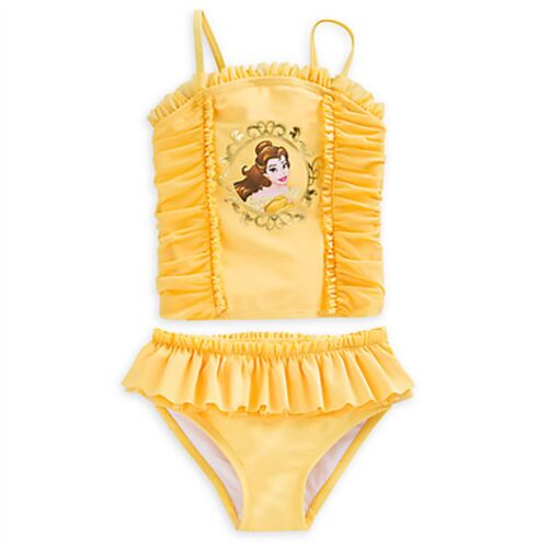 Disney Store Belle Swimsuit Beauty /& the Beast Swim Pool Beach Yellow Pink Rose