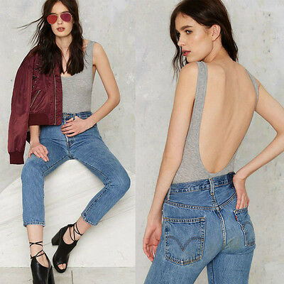 Fashion Women Backless Scoop Neck Bodysuit Casual Plunge Body Tops Rompers