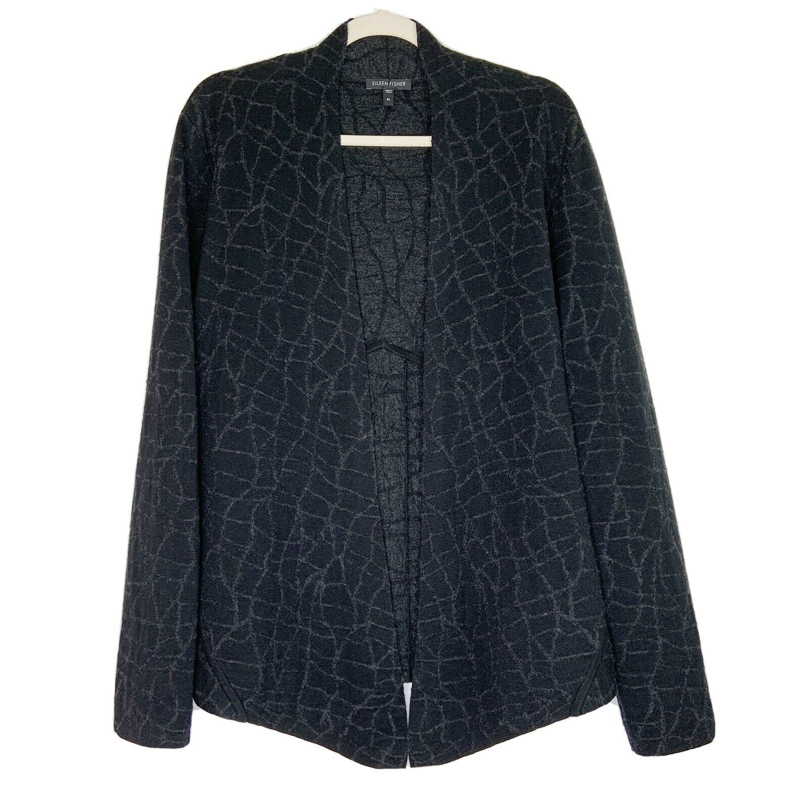 Eileen Fisher Womens Mosaic Open Front Shaped Jacket Size XL Wool Knit Charcoal