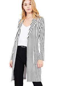 Women-039-s-Juniors-Premium-Stretch-Striped-Long-Sleeve-Long-Jacket