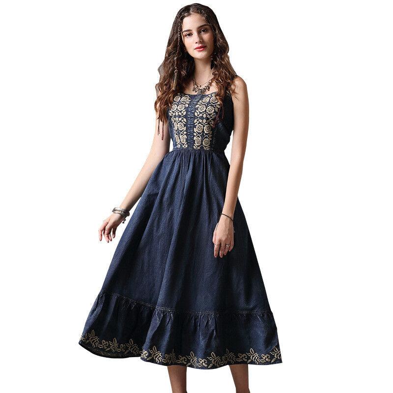 Damen Denim-Kleid Langes Jeanskleid mit Trägern Trägerkleid L99