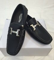 Men Giovanni Dress Shoes Loafer Casual Italian Slip-on Solid Black White Stitch