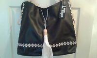 Latique Womens Morocco Tote/handbag Black Faux Leather Msrp $98 (t011k)