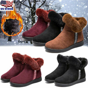 Women-039-s-Winter-Warm-Suede-Ankle-Snow-Boots-Fur-Thicken-Ski-Flats-Casual-Shoes-US