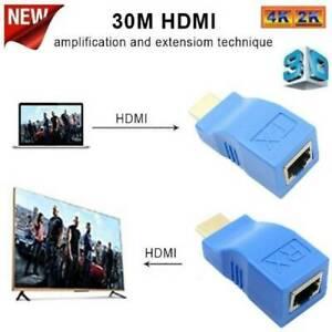 2Pcs-HDMI-Extender-fuer-RJ45-ueber-Cat-5e-6-Netzwerk-Ethernet-4K-Adapter-Neu