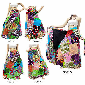 Skirt-SDB11-15-Thailand-Cotton-Patchwork-Long-Sun-Wrap-Sarong-Boho-Gypsy-Hippie