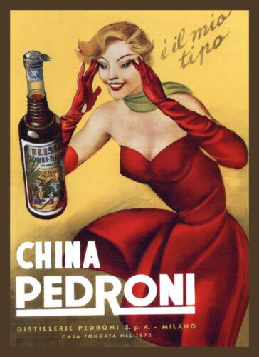 Fashion Liquor Lady Red Dress China Pedroni Milan Vintage Poster Repro FREE S/H